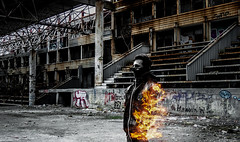 Burning portrait (@Dpalichorov) Tags: portrait portraite burning fire sparks light hot heat mask human people boy man kid half building old nikond3200 nikon d3200 abandoned abandonedhouse abandonedplace place grafiti rust corrosion autofocus