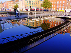 Patterns in steel (Steve-h) Tags: ireland dublin sun reflections finepix milleniumbridge fujifilm quays riverliffey steveh explorefrontpage explore6 abigfave flickraward platinumheartaward theperfectphotographer threefaves 100faves123 peaceawards s100fs beautifulshot platinumpeaceaward