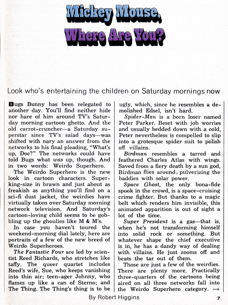 Mickey Mouse, Where Are You - pg 1- Tv Guide ( March 23-29 1968)