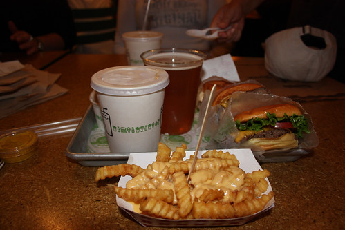 Burgers, beer, chips and milkshake from Shake Shack