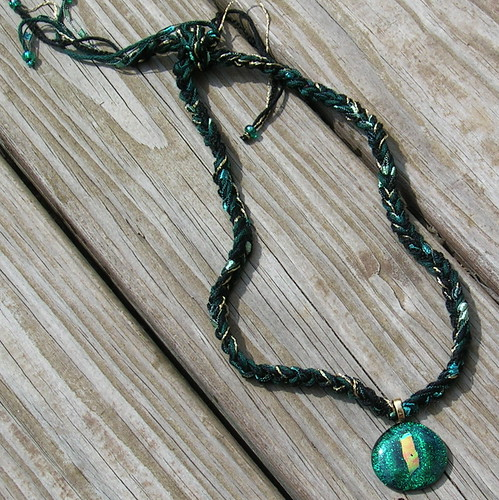 Golden Green Dichroic Glass & Fiber Necklace