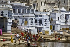 Pushkar sarowar - House around sarowarpuja (Sapna Kapoor) Tags: india religion pushkar rajasthan sarowar