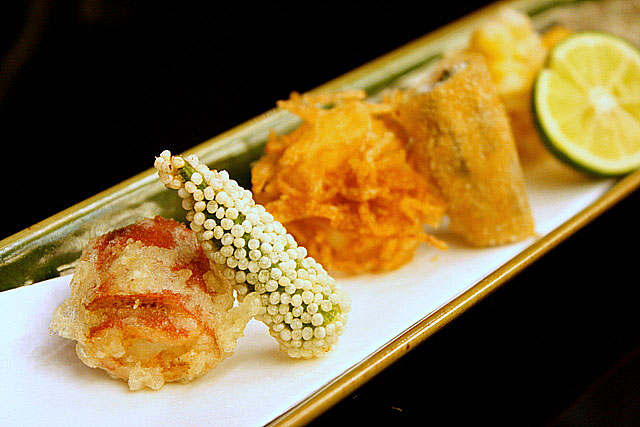 Agemono - Manganji pepper, small lady's finger, prawn with potato, ayu (sweet fish), sweetcorn