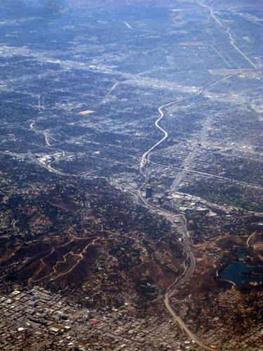 Aerial Los Angeles - the 101 Freeway through Caheunga Pass, Universal City, and Studio City, and a big chunk of the San Fernando Valley