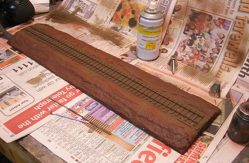 Painted base with track