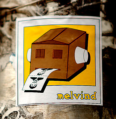 Sticker. Melvind. Found in Lower Manhattan (Allan Ludwig) Tags: streetart sticker stickerart melvind streetartinnyc