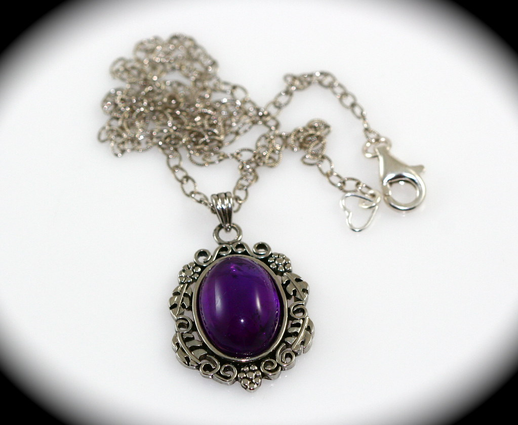 Amethyst Cabochon and Antiqued Silver Necklace