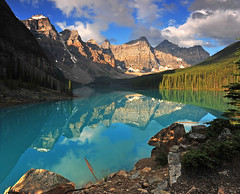Valley of Ten Peaks (Surreal McCoy (Alvin Brown)) Tags: morning lake canada mountains reflection sunrise rockies alpine alberta banff rockymountains morainelake