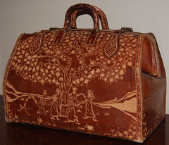 Whimsical Luggage Side 2 (.Kara.) Tags: leather bag carved luggage karaginther