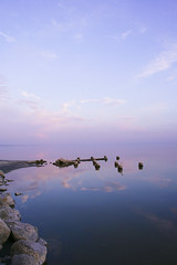 Sunset Salton Sea ( Just me... ) Tags: sunset sea reflection beach water clouds bombay salton