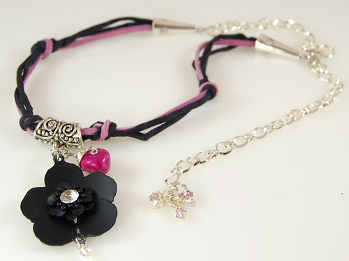 Leather And Silk Black Flower Choker