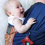 Ready to be Shipped - Nomad Bohemian Baby Sling Wrap Indie Couture Indigo Cotton with Italian Tapest