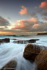 Bungan Beach (-yury-) Tags: ocean sea sky seascape beach nature water clouds canon landscape rocks sydney wave australia rush  bungan