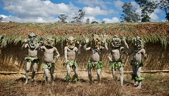 Mud Men (Dave Schreier) Tags: new blue sky tree men grass leaves guinea mask mud hut tribe papua