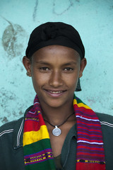 She wanted to wear the colorful scarf (Hulivili) Tags: poverty africa portrait people woman black colors girl rural scarf necklace colorful african side country young ethiopia ethiopian ethiopiaafricatravelseptember2009