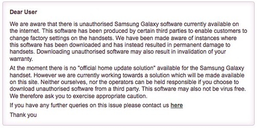 "No ""official home update solution"" for the Samsung Galaxy"