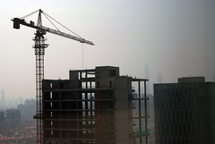 (Thom Hoevenaar) Tags: city skyline skyscraper smog shanghai district  underconstruction jinmao  swfc  tongjiuniversity  worldfinancialtower hoevenaar