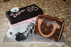 Louis Vuitton and Shoe Cake (irresistibledesserts) Tags: birthday baby flower cake shower bridal shoebox stagette louisvuitton