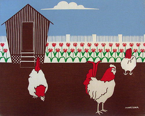 Marushka - roosters on the farm