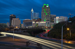 Raleigh 0109 (kenny mccartney) Tags: skyline nc long exposure downtown traffic south north raleigh rush hour license carolina getty 5d 2470l bbt gettyimages wachovia saunders rbc wwwkennymccartneycom kennymccartney