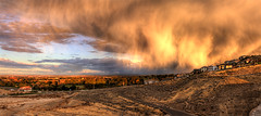 Crazy Clouds (Philerooski) Tags: road trees houses sunset sky panorama sun storm clouds washington crazy view desert dam pano hill dramatic canyon neighborhood columbiariver shade wa hdr wispy tumbleweeds sagebrush dazzling kennewick crazyclouds tricities 3xp photomatix tonemapped canyonlakes philerooski