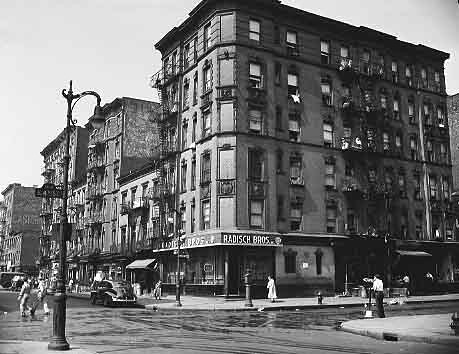 East 4th Street and Avenue D on the Lower East Side (East Village), future site of Wald Houses, July 1945.
