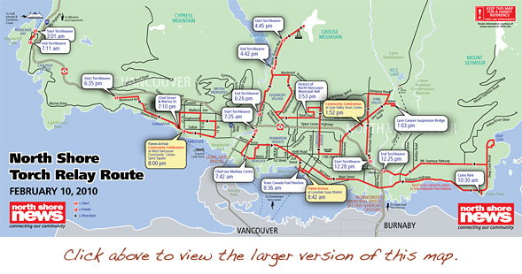 2010 Winter Olympic Torch North Vancouver Map