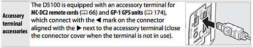 Accessory terminal on the Nikon D5100, as described on page 207 of the Nikon D5100 Manual