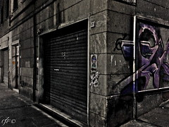 """The Walls"" (giannipaoloziliani) Tags: walls night streetphotography murals graffiti alleys darkness hard dark obscure shadows genova italy alleysofgenoa vicolidigenova notte"