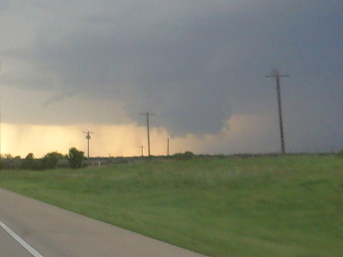 Wall cloud 80 miles east of Amarillo on I-40 today