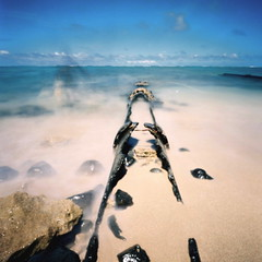 Pipe dream (art y fotos) Tags: 120 6x6 mediumformat hawaii rust oahu pipes pinhole corrosion culvert bambole spearfishing bsquare hauula kodak160portranc