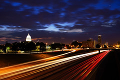 River City Sunrise (clay.wells) Tags: street city morning blue urban motion blur building lines car rock skyline night truck canon eos dawn early spring interesting twilight long exposure cityscape traffic state little metro you clayton battery may overpass wells explore vehicles again capitol hour transportation arkansas interstate usm streaks 630 2009 metropolitan ef 1740 ultrasonic ridiculously bigmomma f4l unanimous i 40d challengeyouwinner i630 thechallengefactory