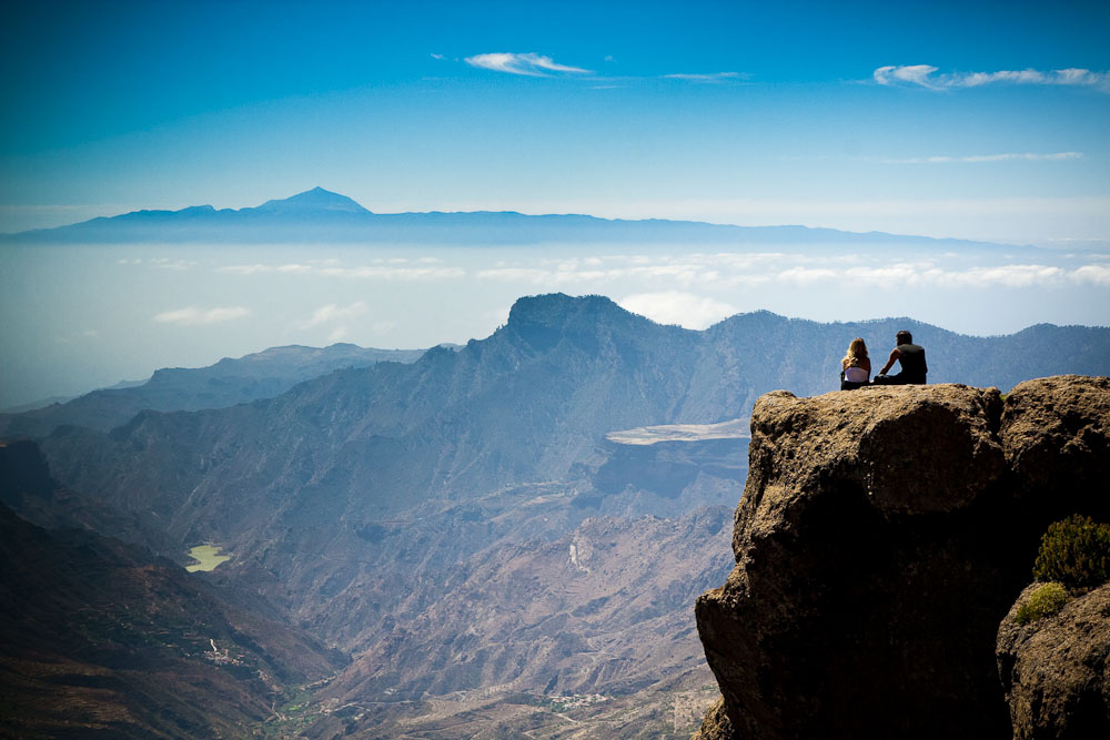 At Roque Nublo, viewing Teide at Tenerife