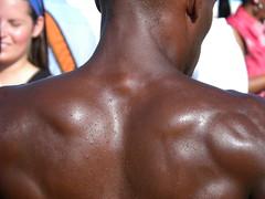 It's Hot Outside (NOLAcami) Tags: man black male muscles back african neworleans american shoulder mardigrasindians