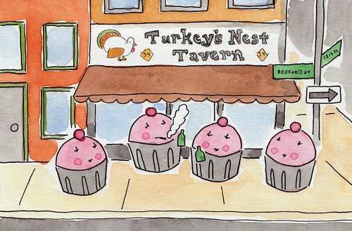 Hipster Cupcakes hanging out ironically at the Turkey's Nest Tavern in Williamsburg, Brooklyn