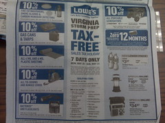 Lowe's Tax Free Preparedness Week Ad