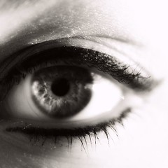 We've Made Contact. (Aubirdy) Tags: iris people woman sunlight macro face female self eyes nikon glow bokeh smooth eyeball contacts contact lit pupil eyelid d60 bokehlicious aubirdy bokehrama