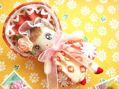 Kawaii Cute Bunka Doll Miniature Handmade Japanese Fabric Japan (Kawaii Japan) Tags: pink red flower cute art floral girl rose japan asian toy happy
