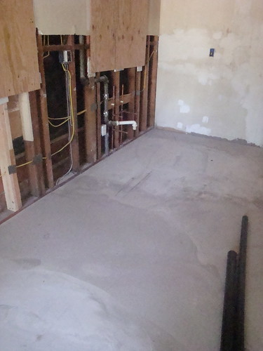 Kitchen floor, leveled and ready for tile