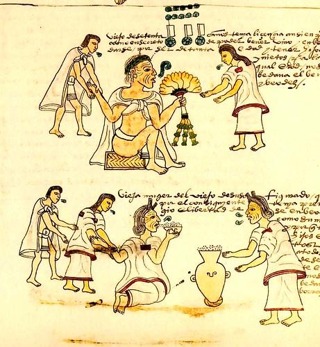 vieja mujer-azteca comiendo pulque
