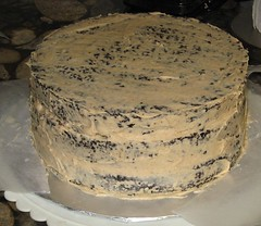Chocolate almond-butter cake - crumb coat