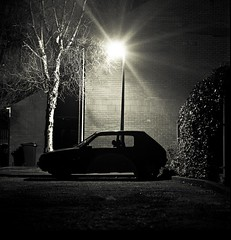 Car (Chris Cove) Tags: lighting urban sunlight white black nature car mystery night lens grit site long exposure noir natural time gritty hasselblad human flare epson cinematic presense v750 120m shilloutee spacially