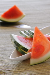 watermelon slices (LandKat) Tags: pink light food fruit healthy raw sweet fresh watermelon seedless snack translucent sliced