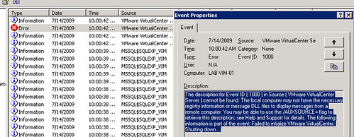 VMWare: Failed to start VMware VirtualCenter Server service