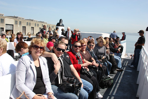 The entire crew ride the boat to Alcatraz