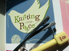 I Knit for Peace. (nightshooter09) Tags: glasses book peace grandmother yarn quaker mennonite brethren knittingneedle dunkard blindphotographers iknitforpeace bettychristiansen wwwredsweaterscom wwwpeacefleececom wwwsilentwitnessnet wwwsnowcabingoodscom wwwshawlministrycom