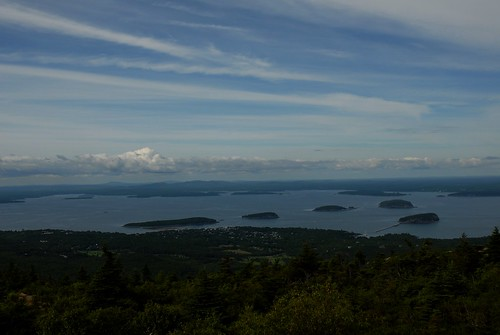 Cadillac Mountain looking down to Bar Harbor, Maine