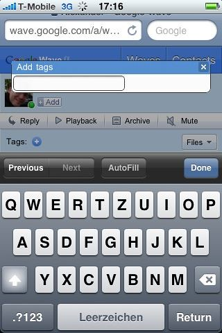 Add Tags for Wave on IPhone