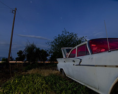 Milkweed (Lost America) Tags: lightpainting abandoned night fullmoon newport junkyard chrysler 1961 nocturnes thebigm