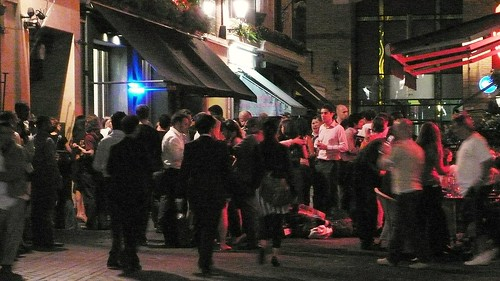 Scene outside a pub in the West End, London, Saturday Evening
